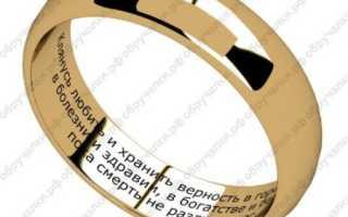 Венчальная молитва внутри кольца